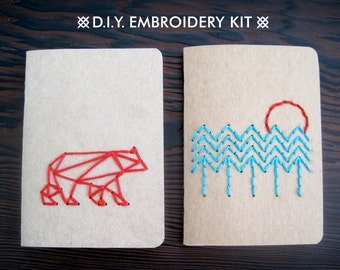 DIY Embroidery Kit: In The Woods - Set of Two Pocket Notebooks