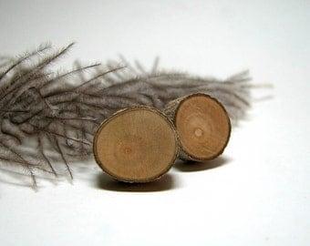 Lighter Grain Rustic Magnolia Twig Wooden Stud Earrings by Tanja Sova