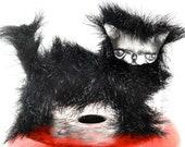 Black kirk cat bjd prop pet art doll goth blythe