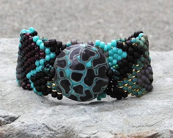 Free Form Peyote Stitch Beaded Bracelet  - I am