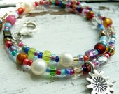 Handcrafted Artisan Sun Star Circus OOAK Multi Colored Eclectic Bohemian KHT Charm Sterling Silver Anklet