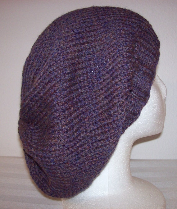Wool Slouch Hat - Slouchy Knit Beanie - Knitted Dreads Hat - Heathered Plum
