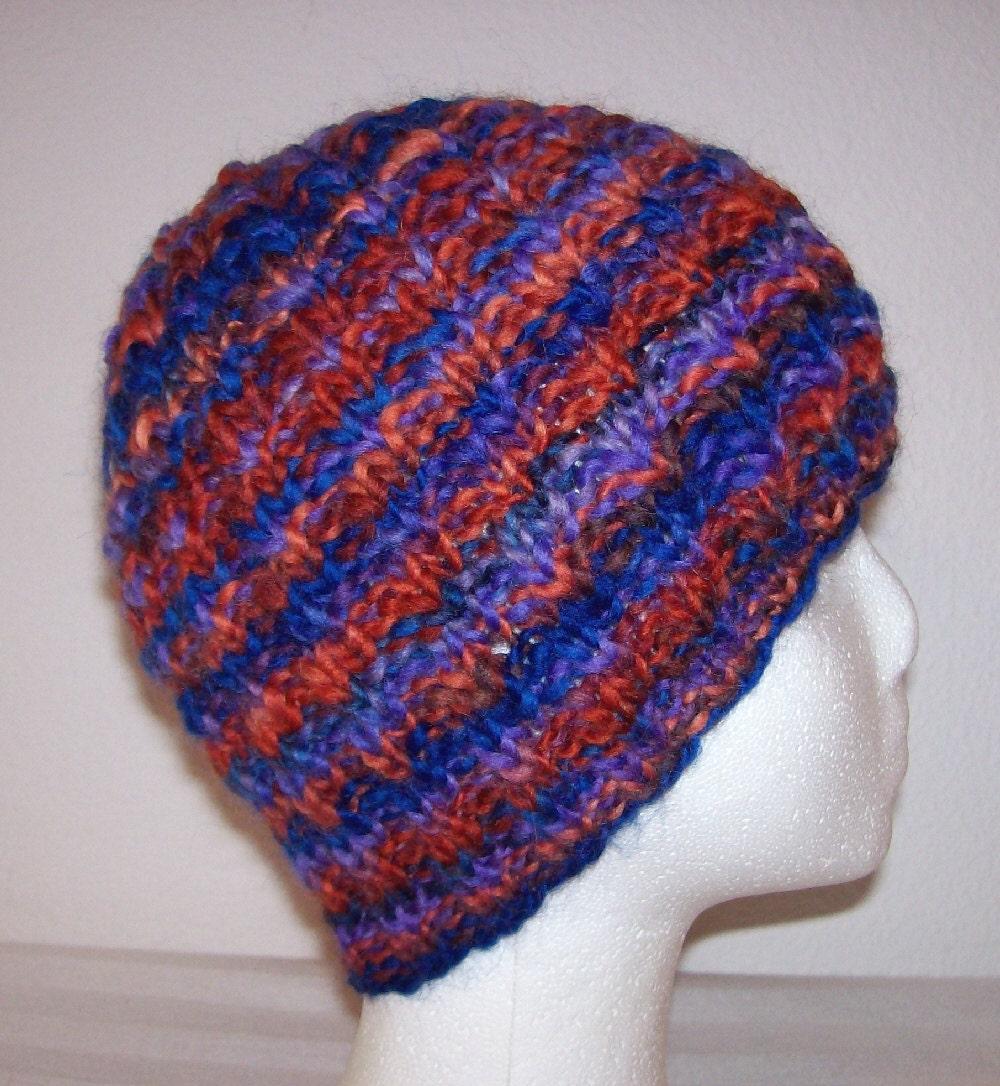 Knitting Handspun Wool : Handspun wool beanie hand spun knit hat knitted