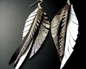 Long White Leather Feather Earrings with silver and black