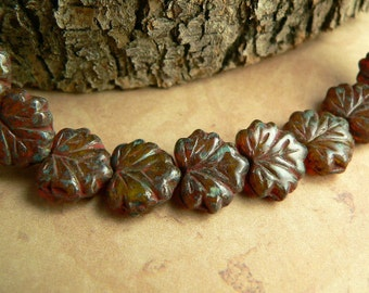 Brown Czech Glass Maple Leaf Beads Opal Amber Picasso10x13mm (10)