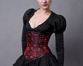 Black and Red Satin Underbust Corset-Made to Measure