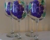 Grapes Wine Glasses Purple with Gold Accents Hand Painted-Ready to Ship