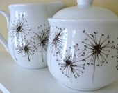 Hand Painted Dandelion Cream and Sugar Set