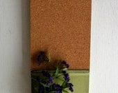 Wood  Shelf Cork Board Mason Jar Message  Center Faded Lime Olive Green Color