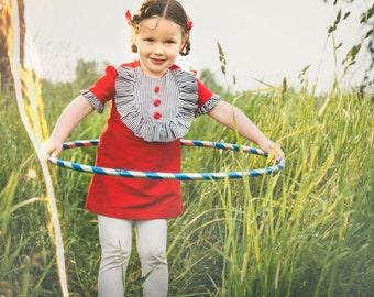 Retro 1960s style Stripped bib Layla children child clothing red white blue
