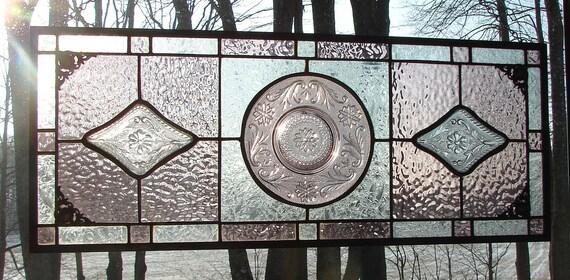 Tiara Amethyst stained glass transom window