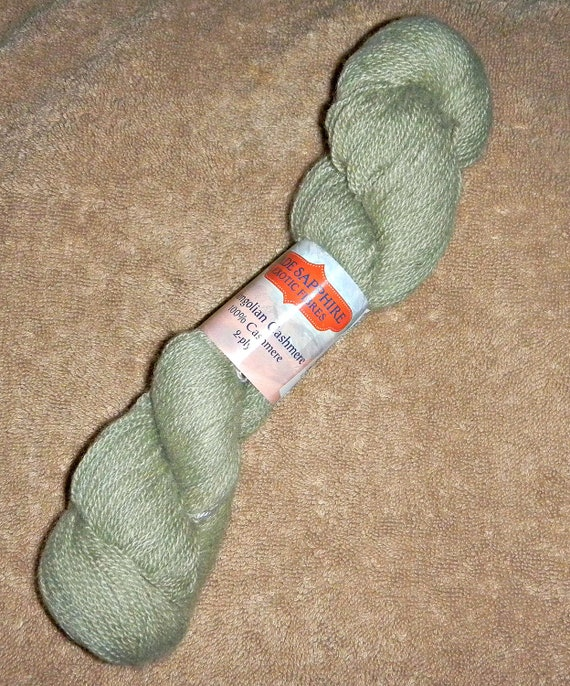 15 Percent Off Sale use Coupon Code WOOL15 One Skein  of Jade Sapphire Mongolian Cashmere 2 ply 100% Chinese Cashmere Color Green Tea