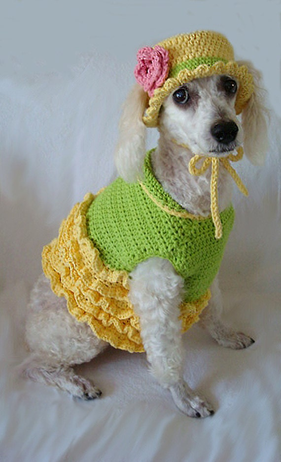 Dog Clothes - Summer Dress with Hat - Size Medium