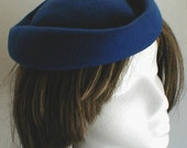 1940's  Fascinator  COCKTAIL-BERET       VINTAGE  Royal Cobalt Blue 100 per cent  Wool Felt--