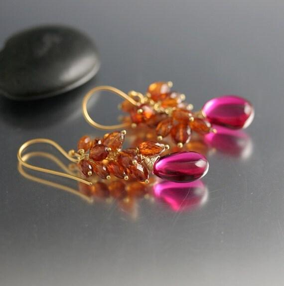Rubellite Quartz Mandarin Garnet Cluster Earrings