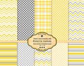 Popette Digital Paper pack for invites, card making, digital scrapbooking