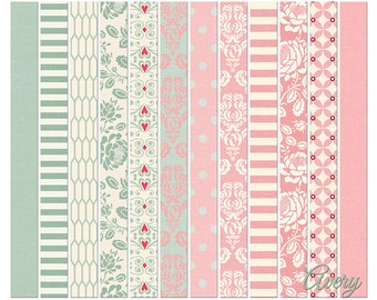 Avery Pink and Sage Digital Paper