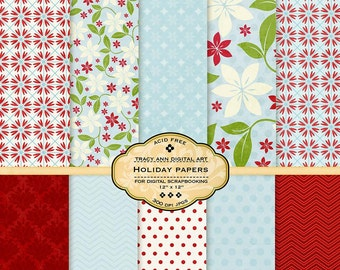 Holiday Digital Paper Pack for invites, card making, digital scrapbooking - Holiday