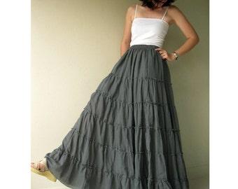 Custom made Gray cotton Boho Hippie  Elastic  waist Long   Ruffle Dance  Skirt S-XL (H)