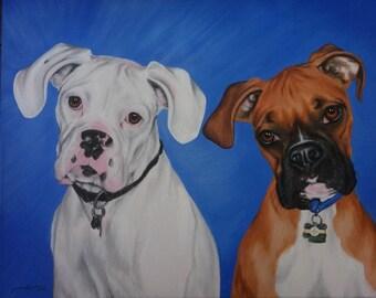 Custom Pet Portrait Painting 16 by 20 Original Art Boxers