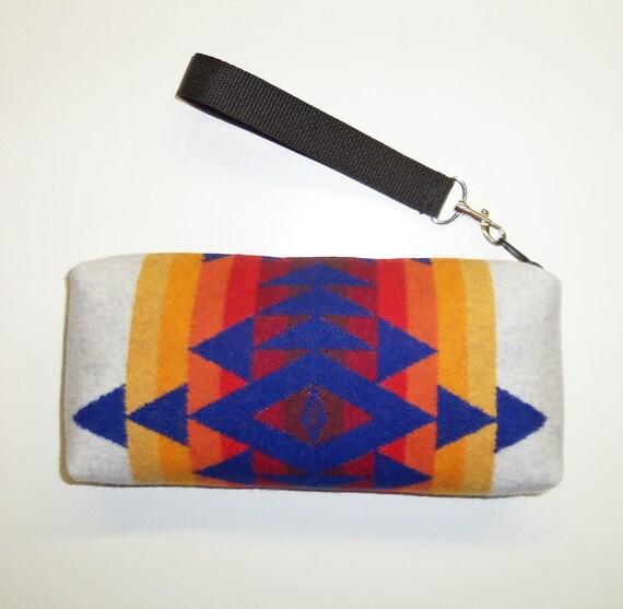 Pendleton Wool Purse Wrist Bag Clutch Bag Tribal Inspired