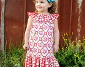 Whimsy Couture Sewing Pattern Tutorial ebook Vintage -- Ruffled Neckline Top/Dress -- with ruffles sizes 6m -12 girls Instant