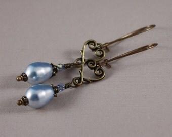 Pierced earrings Vintaj natural brass TierraCast hearts Swarovski Lt Blue pearls