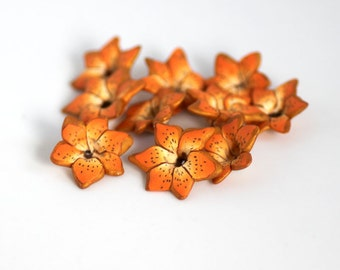 Tiger Lily Beads, Polymer Clay Beads, Lily Beads, Flower Beads, 10 Pieces