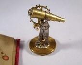 Miniature Wizards Brass Ornate Tabletop Telescope and Illuminated Star Chart Book