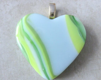 Heart Necklace, Fused Glass Jewelry, One of a Kind, Omega Slide Jewelry, Green Heart, Heart Jewelry - Romance Fantasy - 3890 -2