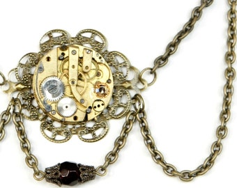 Steampunk Antiqued Brass Filigree Neo-Victorian Multi-Chain Necklace with Vintage Watch and Topaz Swarovski Crystal by Velvet Mechanism