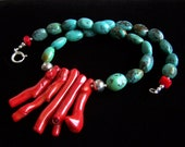 Natural Turquoise Red Coral Branch Necklace Sterling silver, Bohemian Colorful Tribal Ethnic Unisex rustic Boho Jewellery PinkOwlJewelry
