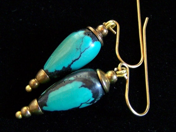 RESERVED .........Turquoise Earrings, Drop Teardop Gold Brass, Capped natural stone, Handmade Pink Owl Jewelry, blue tribal ethnic