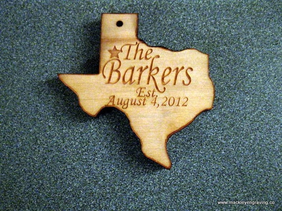 Personalized wooden christmas Texas and Alabama Christmas ornaments