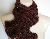 Pumpkin Spice and Black Ruffled Neck Wrap Scarf