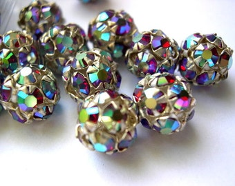 2 Vintage Swarovski crystal ball beads 10mm in silver color metal setting