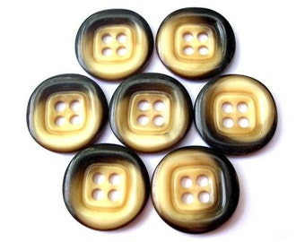 6 Vintage buttons cream with brown plastic 4 holes 34mm