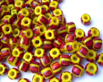 50 Glass beads Czech yellow with stripes 6mmX5mm