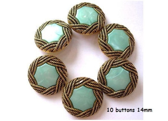 10 Vintage buttons gold color with light blue green geometric trim center 14mm