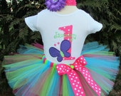 Baby Girl 1st Birthday Tutu - Butterfly Tutu Outfit - Cake Smash Photo Prop