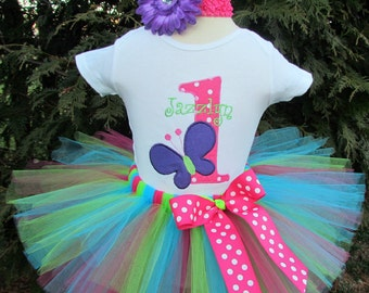 Butterfly 1st Birthday Outfit, First Birthday Tutu Dress, Baby Girl First Birthday Tutu, Butterfly Garden Party Outfit, Girl Birthday Shirt