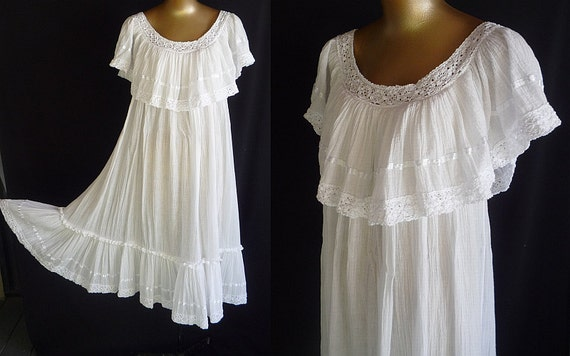 Vintage 70s Mexican White Gauze Dress Crocheted Lace Tiered Ruffle Skirt -- 180 Bottom Sweep  -- Size L to XL to 2XL - on SALE