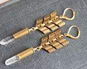 Long Chevron Earrings, Crystal Bullet Earrings, Gold Rocker Jewelry