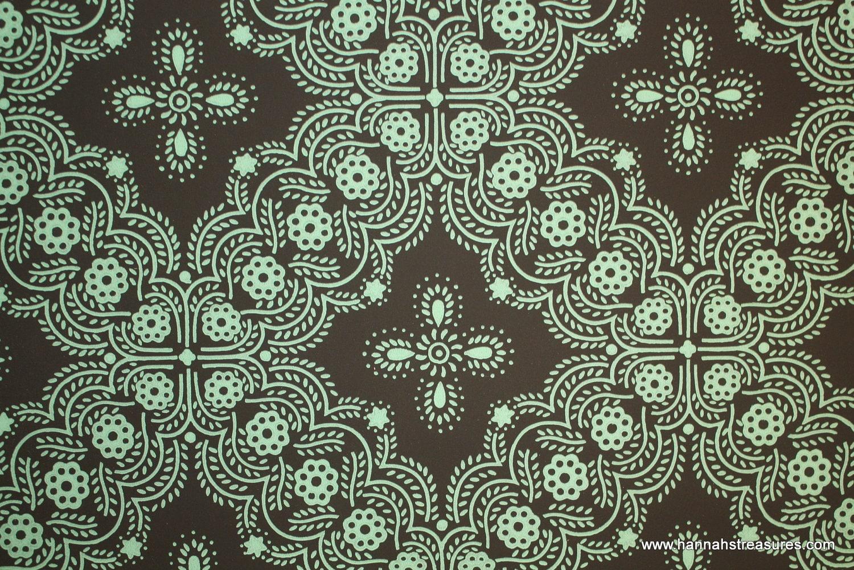 1940 39 s vintage wallpaper mint green geometric design on. Black Bedroom Furniture Sets. Home Design Ideas