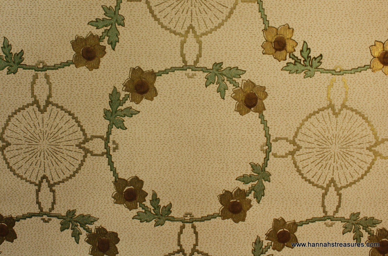 1900's Antique Wallpaper Beautiful Art Deco Floral Ring