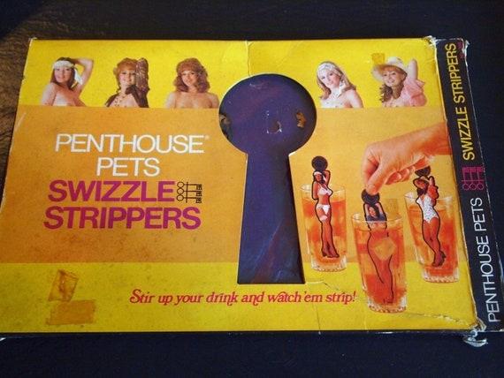 Vintage 70s Penthouse Pets Swizzle Stripper Drink Stirrers in Original Box
