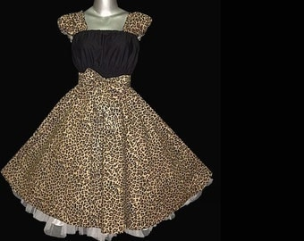 Summer 40s 50s Rockabilly Swing LEOPARD DRESS Pin Up Plus Size 16 18 20 Black Brown Cheetah Retro Party 2x