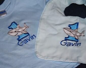 Custom Listing for Shirt and Appliques - Birthday Shark Attack Bib & T-shirt Set - Personalized - Theme - Party Decor - Cake Smash
