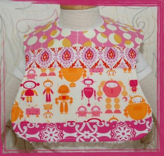 Retro Pink Robots Vintage Chenille Yellow Daisy Infant Size Feeding Bib