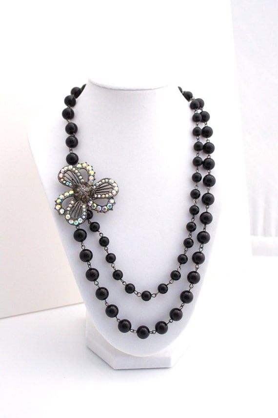 Rhinestone and Black Pearl Statement Necklace Buy 3 Get 1 Free
